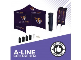 QuickTop A-Line PACKAGE DEAL. Printed Roof, Sides & Flags